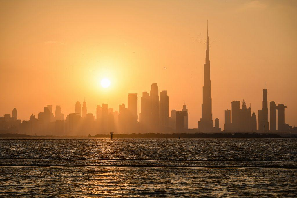Skyline at sunset as seen from Dubai Creek