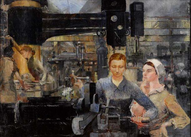 Пименов Юрий Иванович_Работницы на заводе_ Центральная часть триптиха_1934